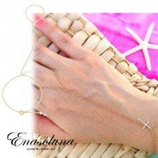 Enasoluna(エナソルーナ)<br> Cross on the skin bracelet【BS-943】 18ss ブレスレット・アンクレット