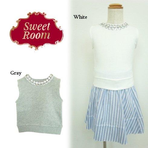 Sweet Room (Little deicy,me kidsライン)<br>ビジュー裏毛ノースリーブトップス  15春夏【711610】 トップス sale