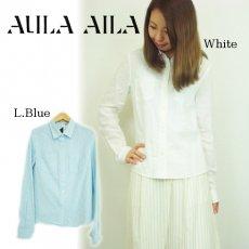 AULA AILA(アウラアイラ)<br>コットンリネンシャツ  15春夏.【1152-04014】 シャツ・ブラウス sale