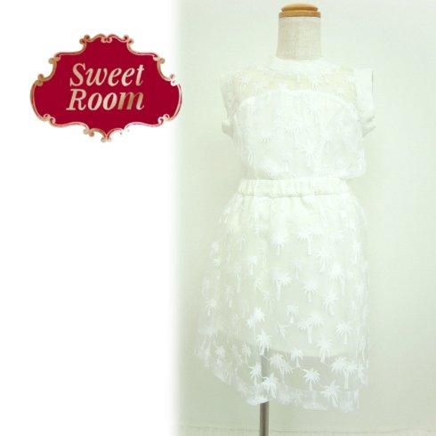 Sweet Room (Little deicy,me kidsライン)<br>ヤシ柄刺繍オーガンジースカート  15春夏.【712914】 ボトム sale