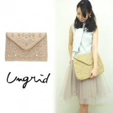 Ungrid(アングリッド)<br>リネンビジュークラッチBAG  15春夏.【111521944801】 クラッチバッグ sale