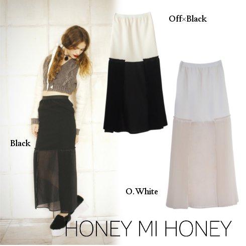 Honey mi Honey (ハニーミーハニー)<br>プリーツシフォンロングスカート  【15A-SD-04】 ロング・マキシスカート sale