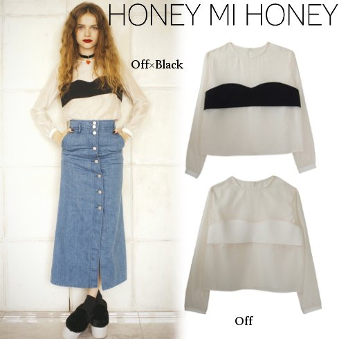 Honey mi Honey (ハニーミーハニー)<br>シフォンブラウス  【15A-SD-05】 シャツ・ブラウス sale