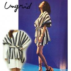 Ungrid(アングリッド)<br>ストライプジャガードポンチョ  16春夏【111610401701】 チュニック sale