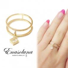 Enasoluna(エナソルーナ)<br>Swing square ring【ホワイトトパーズ】【RG-1106-1】 リング