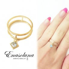 Enasoluna(エナソルーナ)<br>Swing square ring【ブルートパーズ】 【RG-1106-2】 リング