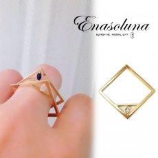 Enasoluna(エナソルーナ)<br>Stone square ring  【RG-1110】 リング