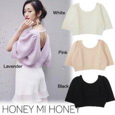 Honey mi Honey (ハニーミーハニー)<br>バックVオープンニット  16春夏.【16S-AN-18】 ニットトップス