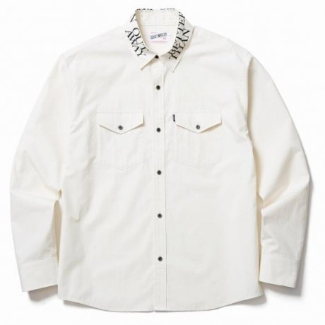 CLUCT / PRINTED COLLAR L/S SHIRT(CREAM)