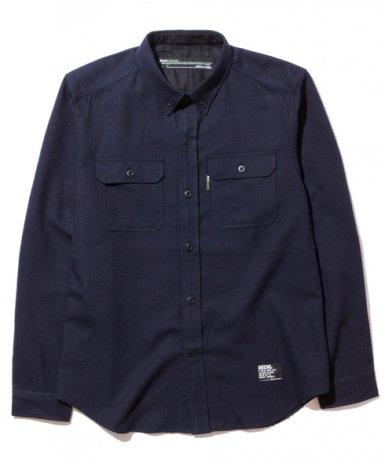 BACK CHANNEL / WOOL B.D. WORK SHIRT(NAVY)