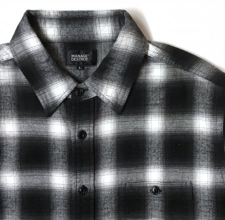 <img class='new_mark_img1' src='https://img.shop-pro.jp/img/new/icons47.gif' style='border:none;display:inline;margin:0px;padding:0px;width:auto;' />MANAGE*DESTROY / FLANNEL CHECK SHIRTS [BLK]