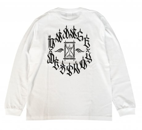 MANAGE*DESTROY / ZYS  HOUR GLASS L/S TEE [WHITE]