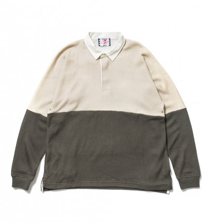 SON OF THE CHEESE / college shirt(BEIGE x OLIVE)