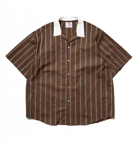SON OF THE CHEESE / Stripe Cleric Shirt(BROWN)