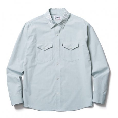 <img class='new_mark_img1' src='https://img.shop-pro.jp/img/new/icons20.gif' style='border:none;display:inline;margin:0px;padding:0px;width:auto;' />CLUCT / PRINTED COLLAR L/S SHIRT(L. BLUE)