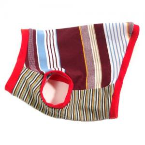 ダックスフンド 服 コーギー 服   鹿の子素材マルチボーダー ボルドー