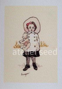 Krimgen|ポストカード|帽子の少女とクマ