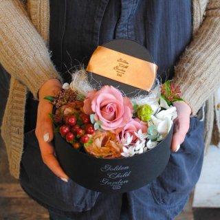 記念日にチョコ付き box flower