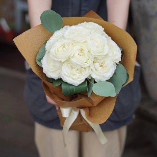 ダズンローズブーケ(白いバラ12本の花束)