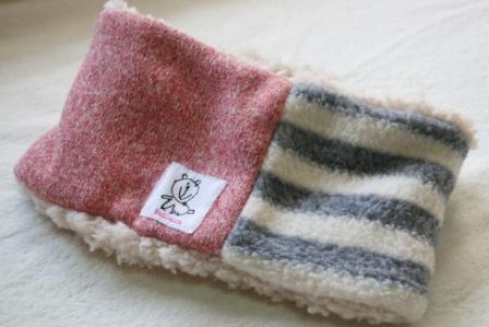 ネックウォーマー winter tricolore  ブルーグレーボーダー