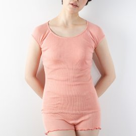 丸編みカップ付きフレンチ袖(絹100%)