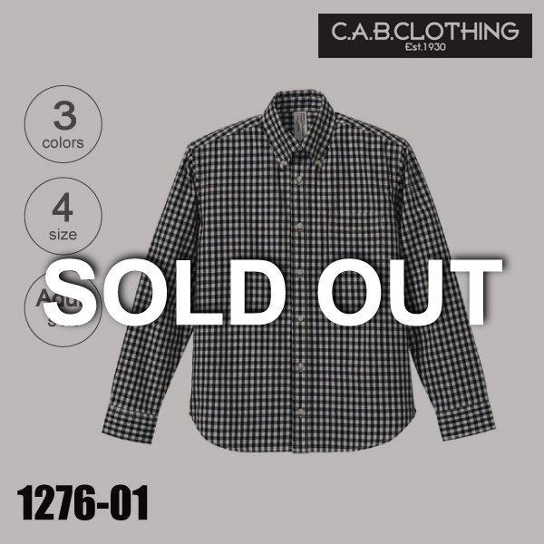 1276-01 クールマックスボタンダウンロングスリーブチェックシャツ(S〜XL)★C.A.B. CLOTHING【完売】