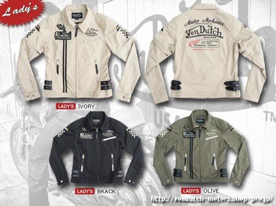 【Von Dutch motors】VOM-S16-Lady's  T/C-Zip Shirts