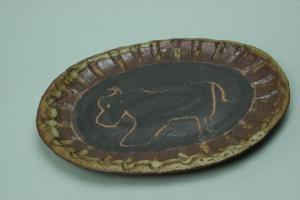 掻き落し絵皿シリーズ、ウシ