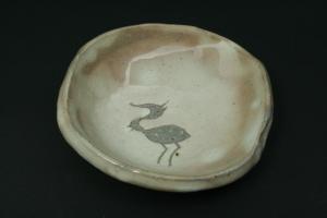 鷺(サギ)絵化粧小皿