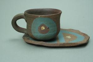 焼締めコーヒー碗皿水色丸模様