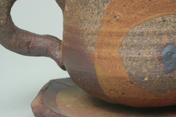 焼締めコーヒー碗皿ダイダイ色模様