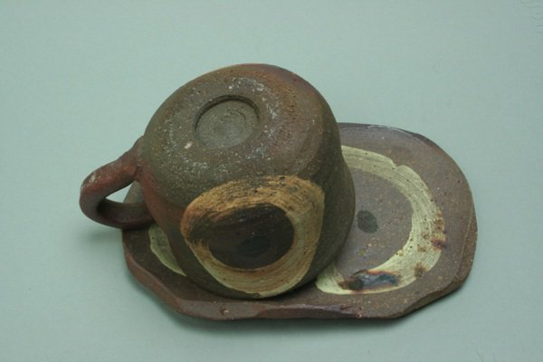 焼締めコーヒー碗皿黄色丸模様