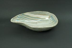 墨つぼ型練りこみ皿(透明釉)