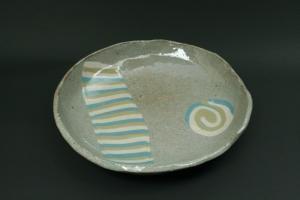 ストライプ丸皿