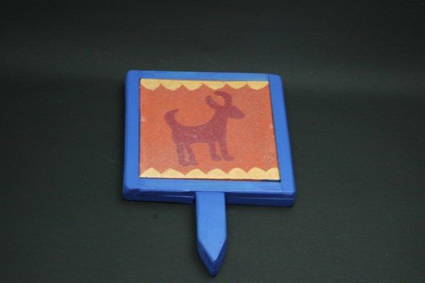 タイル鍋敷犬絵・青色枠