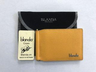 マネークリップ 札ばさみ  牛革 財布 エナメル イエローゴールド 本革 メンズ BLANDA ベトナム製  オリジナル ギフト プレゼント
