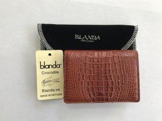 カードケース 免許証入れ クロコダイル ワニ革 財布 エナメル ブラウン-2 本革 メンズ BLANDA ベトナム製  オリジナル ギフト プレゼント