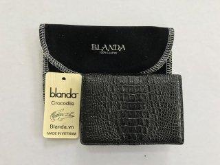 カードケース 免許証入れ クロコダイル ワニ革 財布 エナメル ブラック 本革 メンズ BLANDA ベトナム製  オリジナル ギフト プレゼント