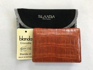 カードケース 免許証入 クロコダイル ワニ革 財布 エナメル ブラウン-1 本革 メンズ BLANDA ベトナム製  オリジナル ギフト プレゼント