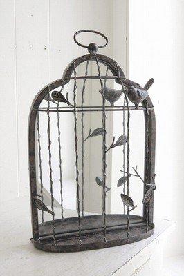 フレンチアイアン 鳥かご型ミラーシェルフ&小物入れ