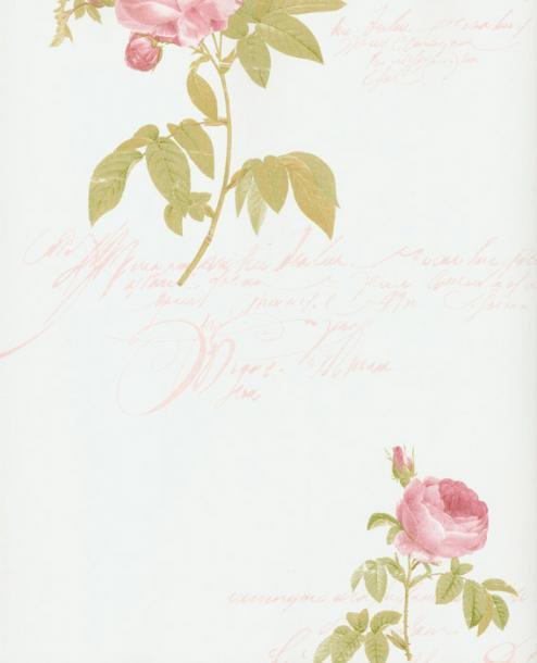 輸入クロス壁紙 クラシカルローズ(キュートピンク&ホワイト)