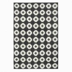 ブリタスウェーデン 北欧 プラスチック製 デザインラグ フラワー ブラック【Brita Sweden Flower rug Beluga (Black)】