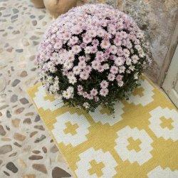 ブリタスウェーデン 北欧 プラスチック製 デザインラグ フラワー イエロー【Brita Sweden Flower rug Sun (Yellow)】