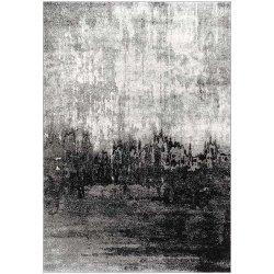 アブストラクト アート ヴィンテージ風ラグ ブラック【Bosphorus Abstract Rainfall Rug Black】