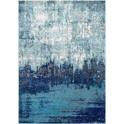アブストラクト アート ヴィンテージ風ラグ ブルー【Bosphorus Abstract Rainfall Rug Blue】