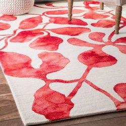 ボタニカル柄 ウール100% デザインラグ レッド【Dip Dyed DD06 Wool Faded Abstract Lush Leaves Rug RED】