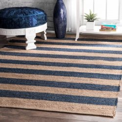 【Boardwalk DR03 Jute And Denim Even Stripes Rug DENIM】 天然素材ラグ ジュートラグ デニムラグ
