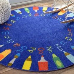 円形 アルファベット柄 キッズラグ ブルー【Ashlina Rainbow Alphabet Rug】