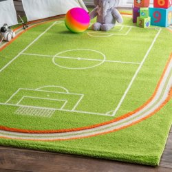 サッカーフィールド柄 キッズラグ【Kids Zone Playtime KW03 Miniature Soccer Field Rug】