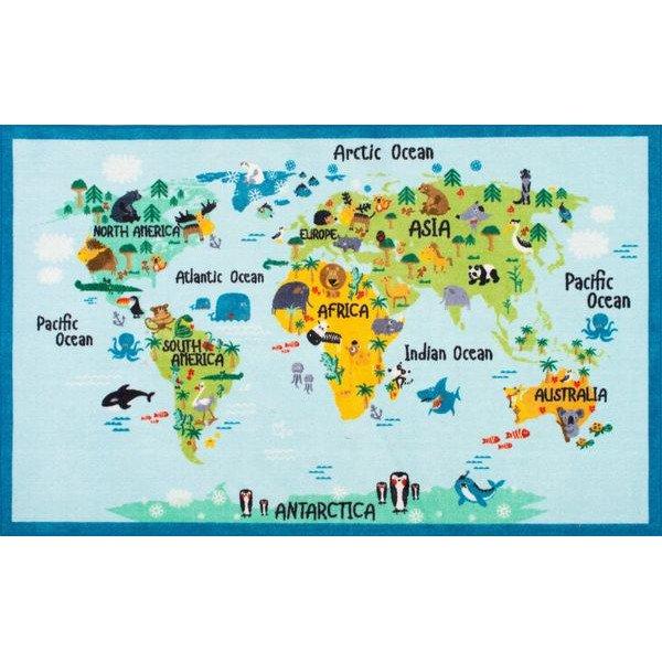 世界地図 動物柄 アルファベット キッズラグカーペット 絨毯 海外ラグ かわいい Ashlina Animal World Gz10 Rug